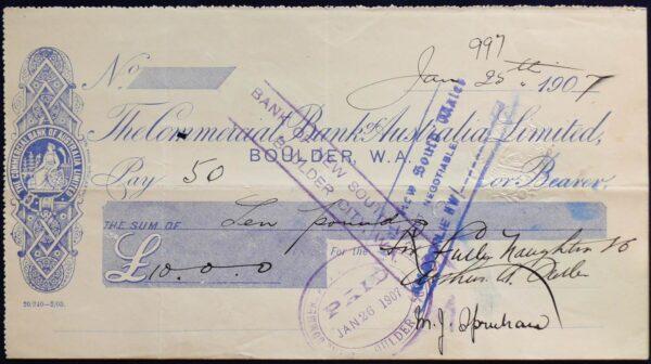 1907 Rare Bank Cheque - Boulder, Western Australia