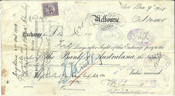 1908 Bank Of Australasia Exchange Note