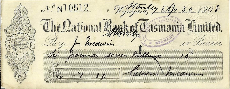 1908 National Bank Of Tasmania Wynyard Cheque