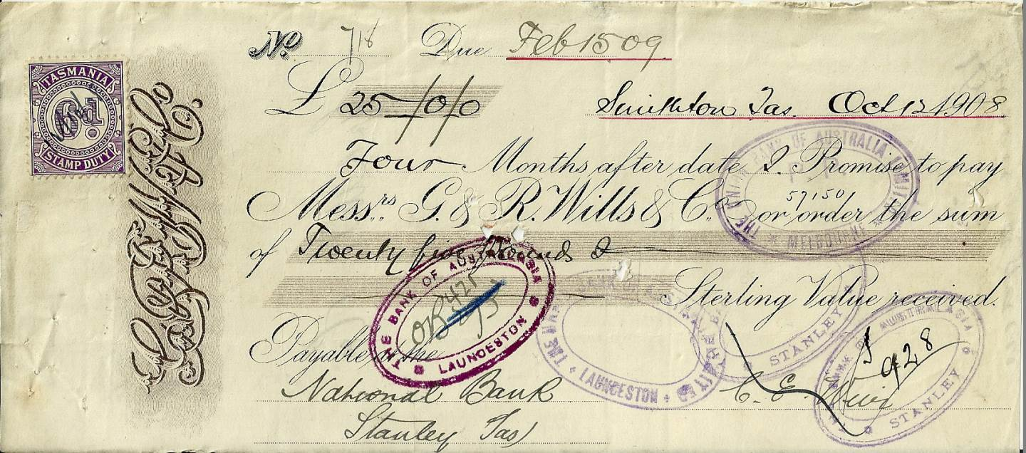 1908 - Promissory Note - G. & R. Wills and Co.