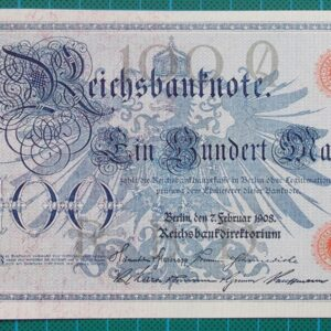 1908 REICHSBANKNOTE 100 MARK 0698810N