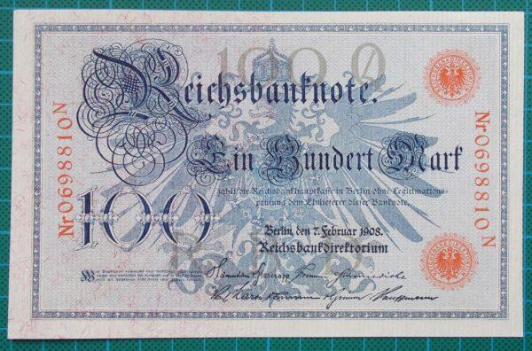 1908 REICHSBANKNOTE 100 MARK 0698810N