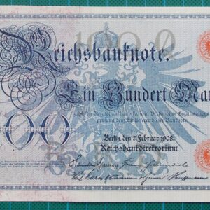 1908 REICHSBANKNOTE 100 MARK 0698811N