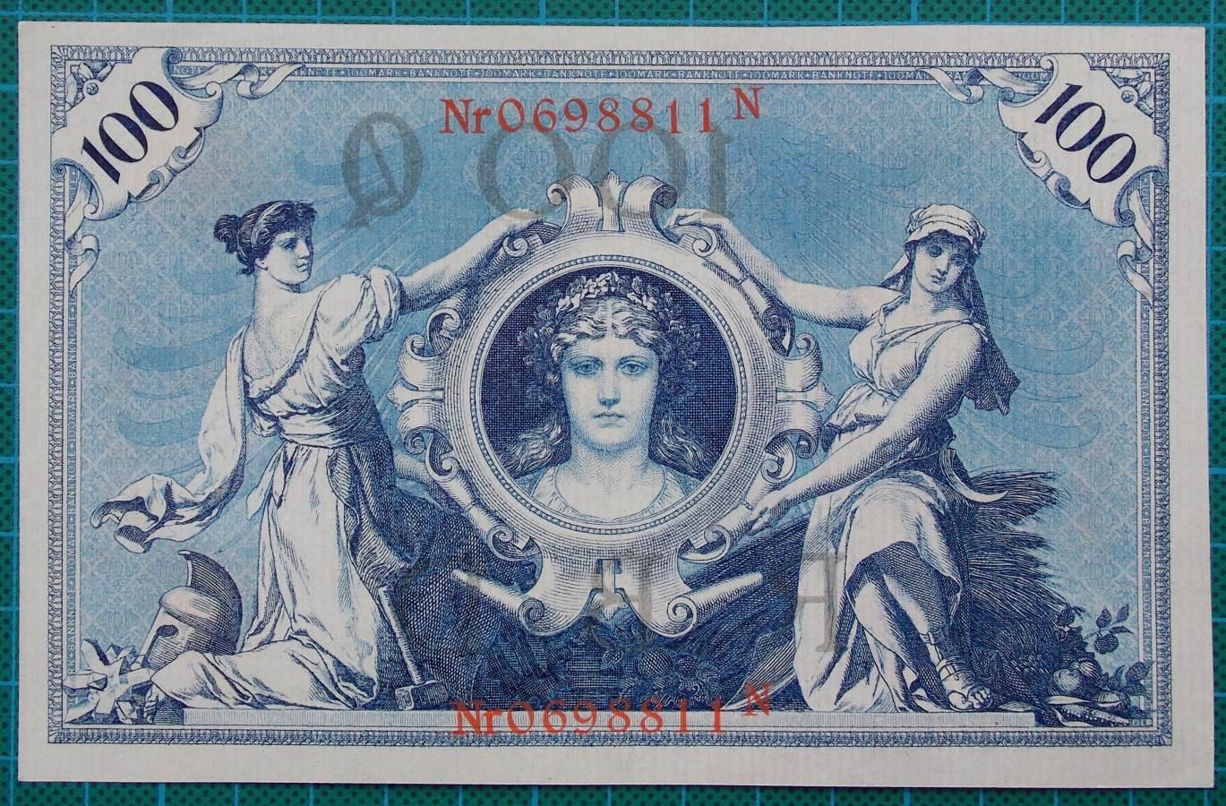 1908 REICHSBANKNOTE 100 MARK 0698811N