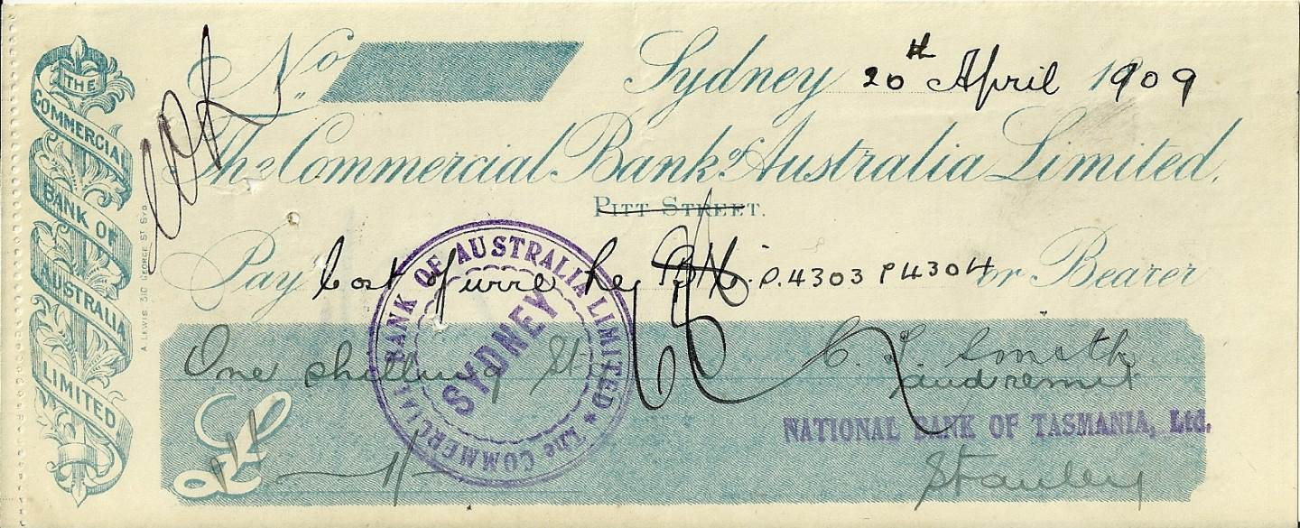 1909 - Bank Cheque - Commercial Bank of Australia