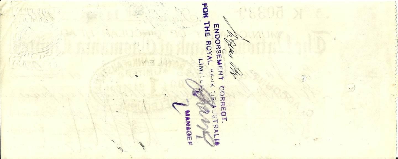 1909 - Bank Cheque - National Bank of Tasmania