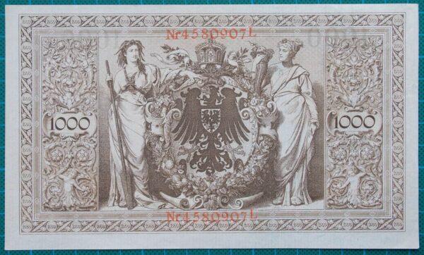 1910 REICHSBANKNOTE 1000 MARK 4580907L