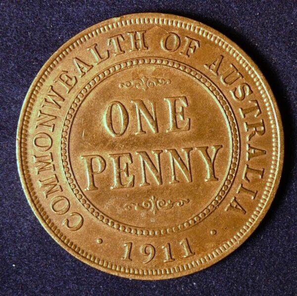 1911 Australia One Penny - King George V - B