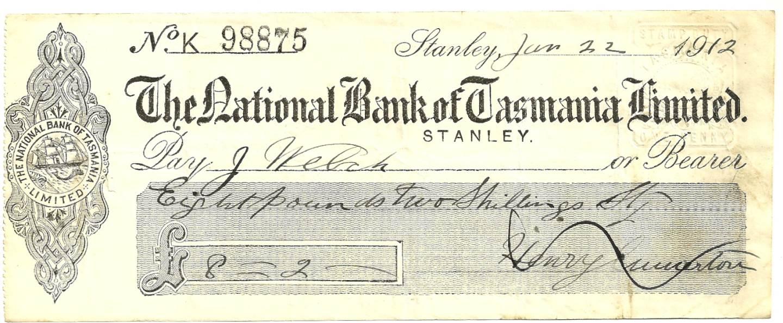 1912 - Bank Cheque - National Bank of Tasmania