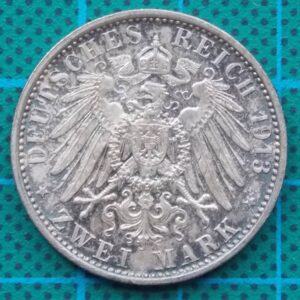 1913 DEUTSCHES REICH TWO MARK COIN