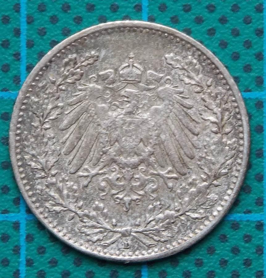 1915 DEUTSCHES REICH ONE HALF MARK COIN
