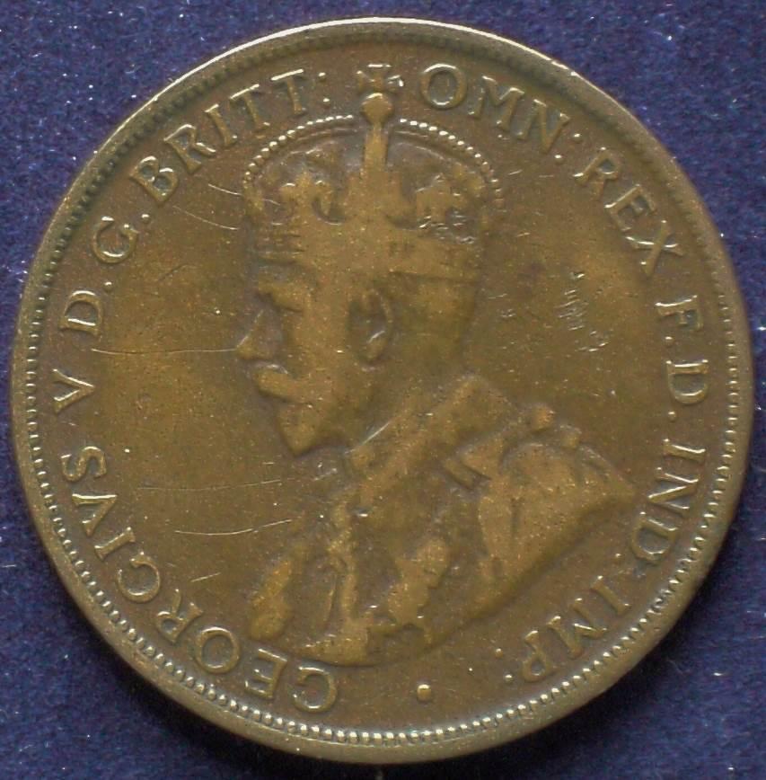 1915 Australia One Penny - King George V - B