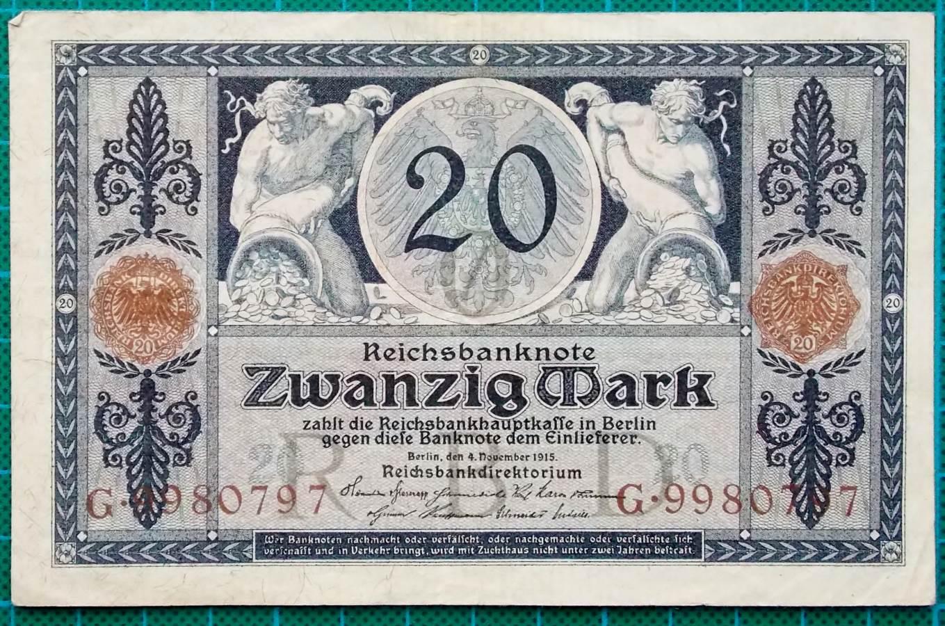 1915 REICHSBANKNOTE 20 REICHSMARK G9980797