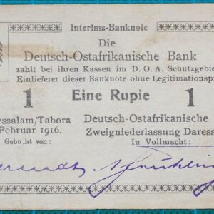 1916 GERMAN EAST AFRICA BANK ONE RUPIE BANKNOTE