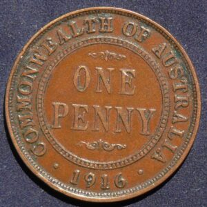 1916 Australia One Penny - King George V - B