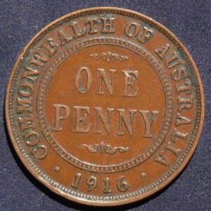 1916 Australia One Penny - King George V - B