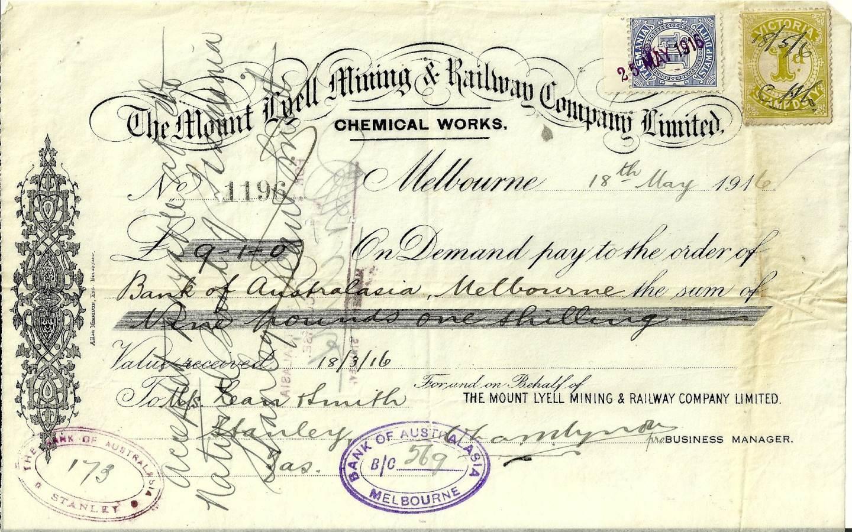 1916 Mount Lyell Mining And Railway Company Promissory Note