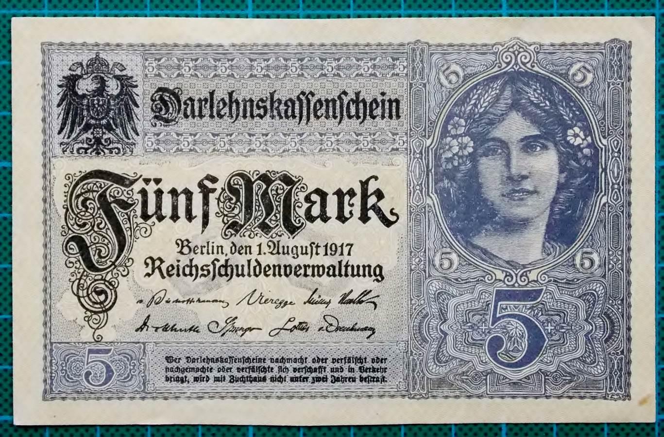 1917 DARLEHNSKASSENSCHEIN 5 MARK V10977689