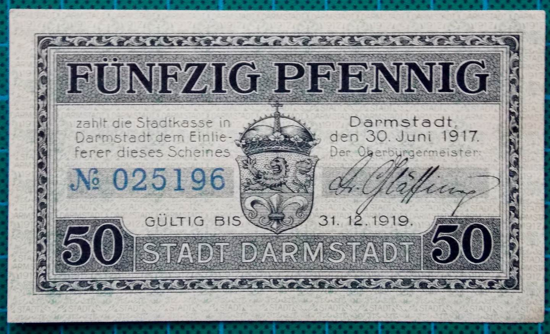 1917 STADT DARMSTADT 50 PFENNIG NOTGELDSCHEIN
