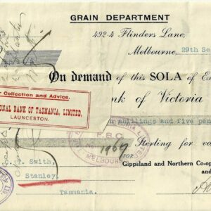 1917 Commercial Bank of Victoria Grain Department Sola Of Exchange