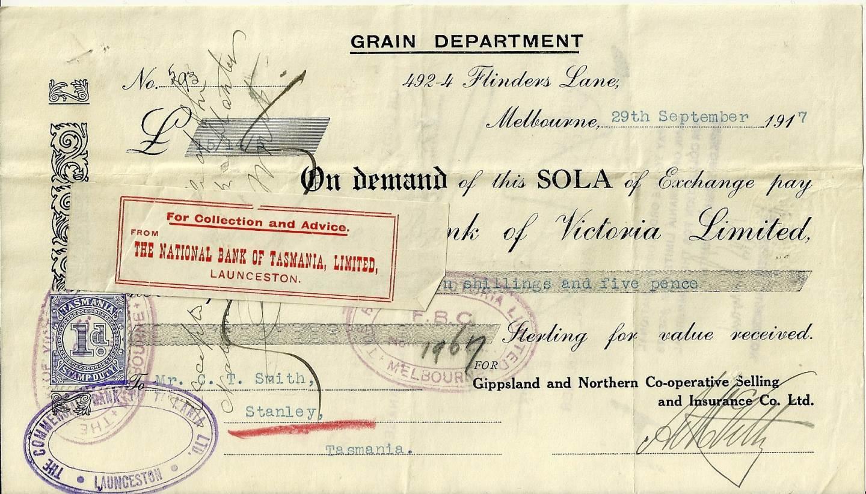 1917 Commercial Bank of Victoria Grain Department Sola Of Exchange
