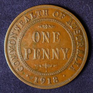 1918 Australia One Penny - King George V