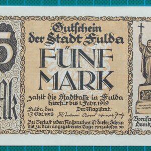 1919 STADT FULDA NOTGELD GUTSCHEIN 5 MARK