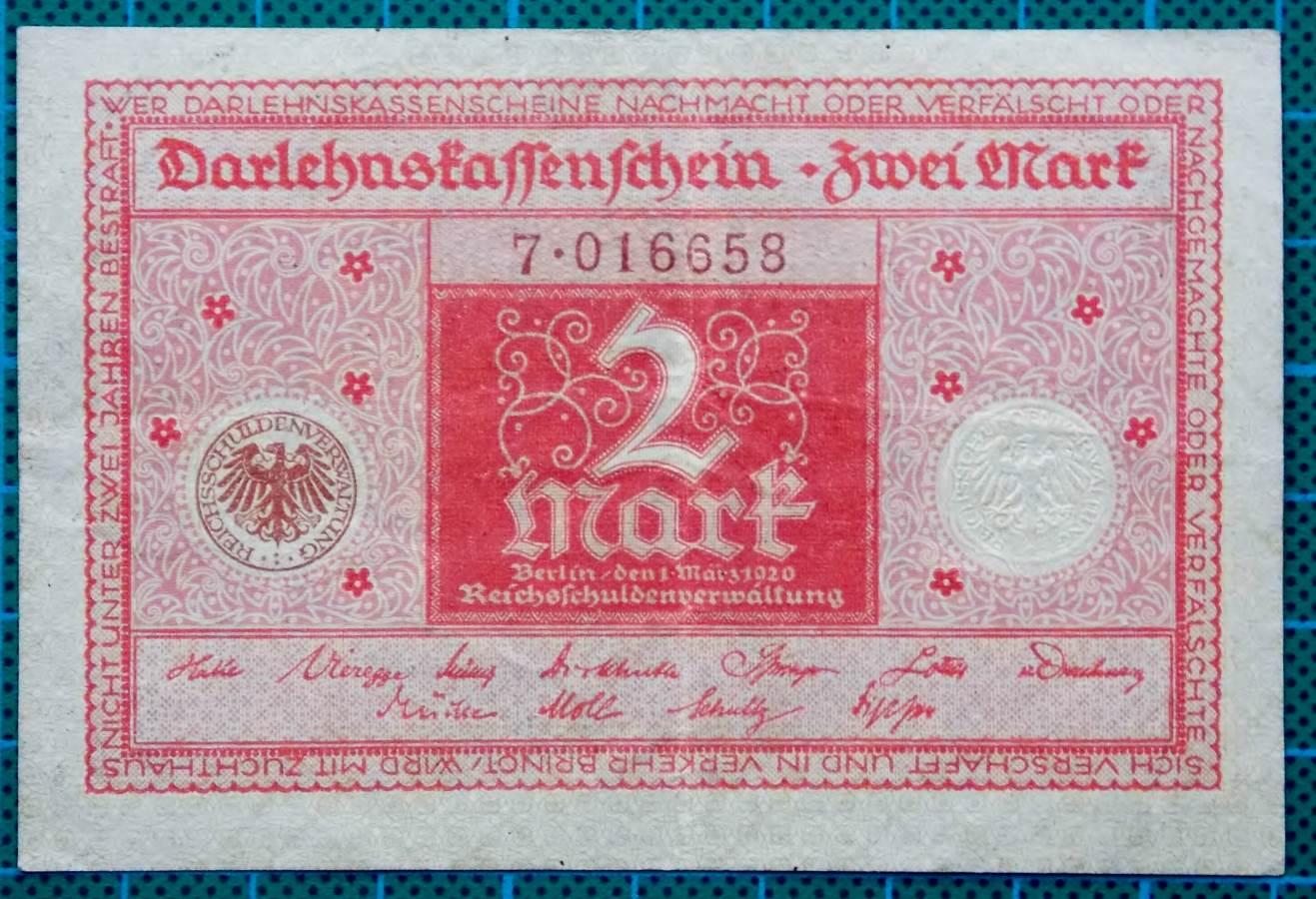 1920 DARLEHNSKASSENSCHEIN ZWEI MARK NOTGELD