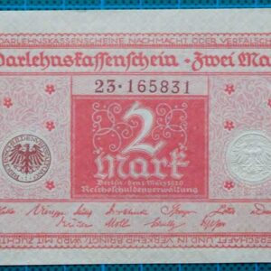 1920 DARLEHNSKASSENSCHEIN 2 MARK EMERGENCY MONEY