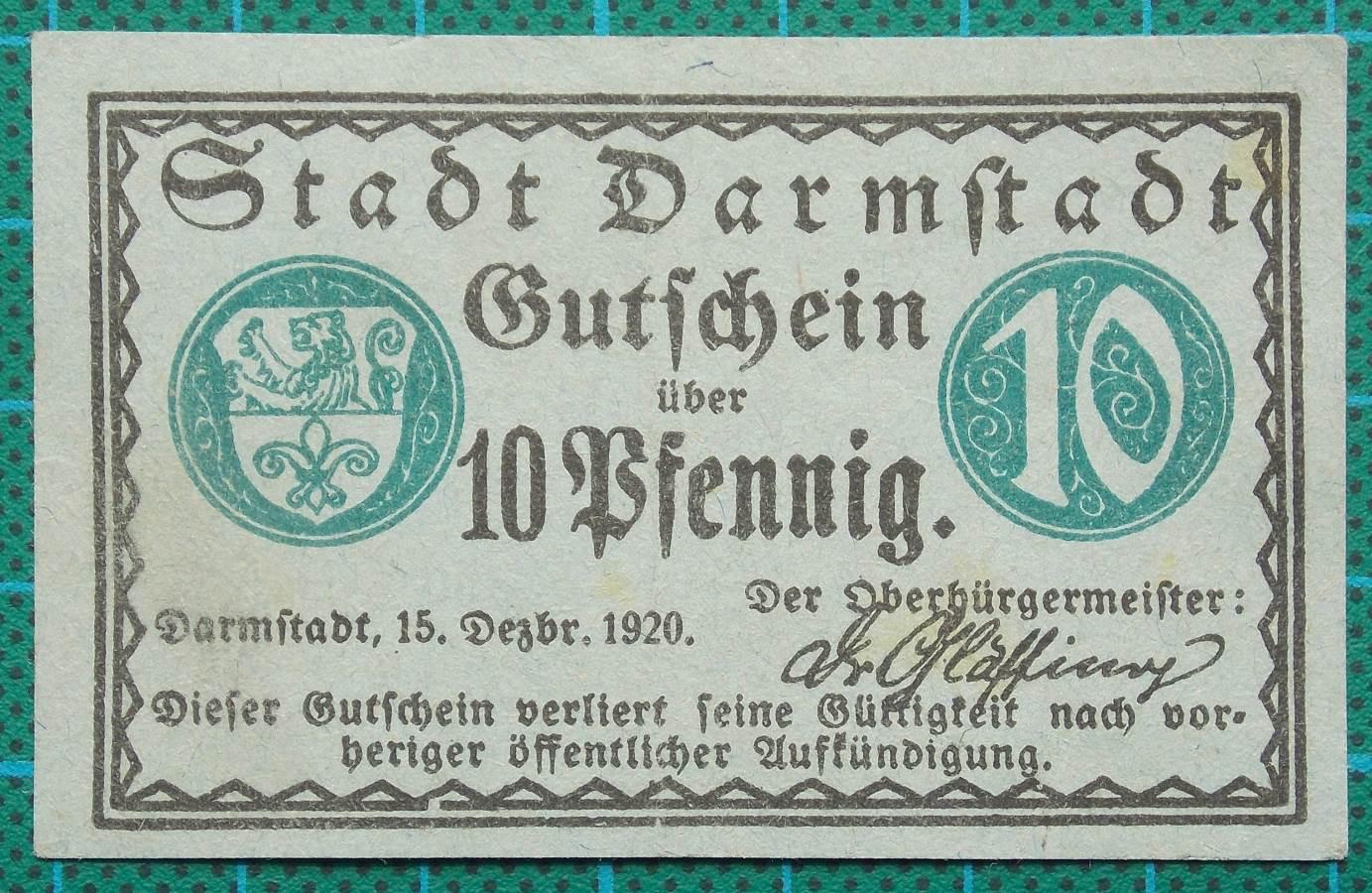 1920 DARMSTADT GUTSCHEIN TRANSPORT VOUCHER 10 PFENNIG