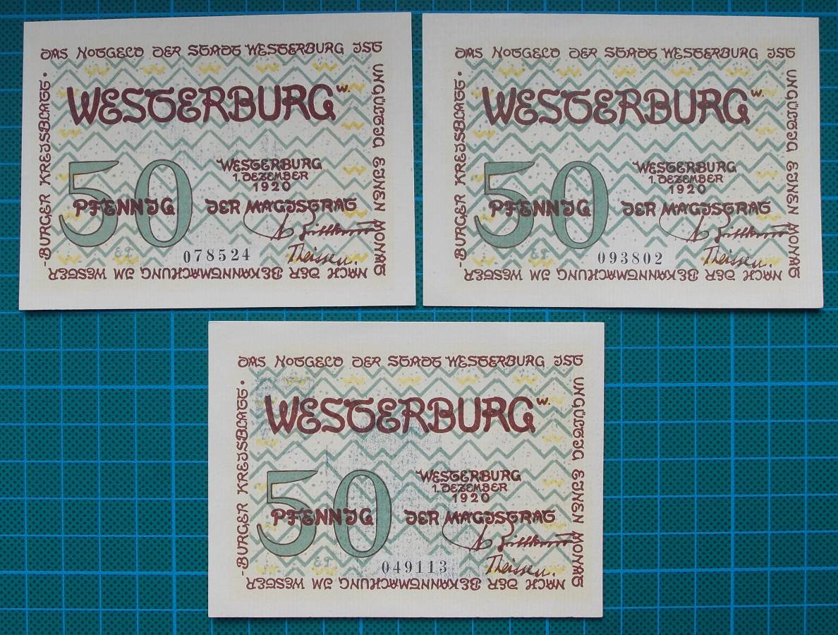1920 STADT WESTERBURG 50 PFENNIG EMERGENCY NOTES SET