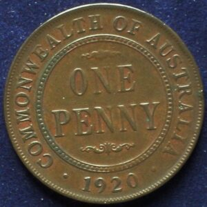 1920 Australia One Penny - King George V - No Dot