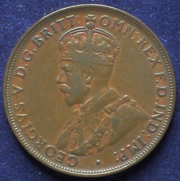 1920 Australia One Penny - King George V - No Dot