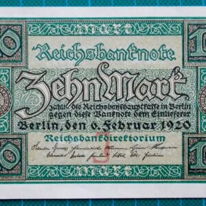 1920 REICHSBANK NOTE 10 MARK W0596864
