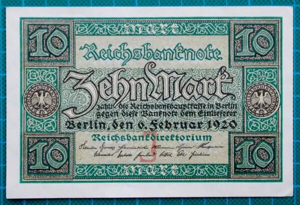 1920 REICHSBANK NOTE 10 MARK W0596864
