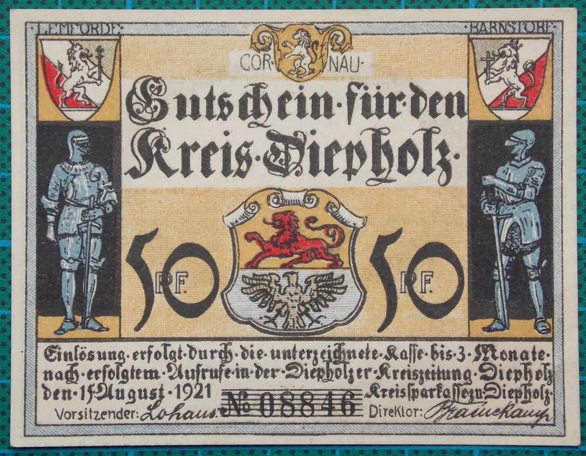 1921 KREIS DIEPHOLZ GUTSCHEIN 50 PFENNIG