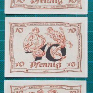 1921 STADT ARNSTADT 10 PFENNIG NOTGELD SET
