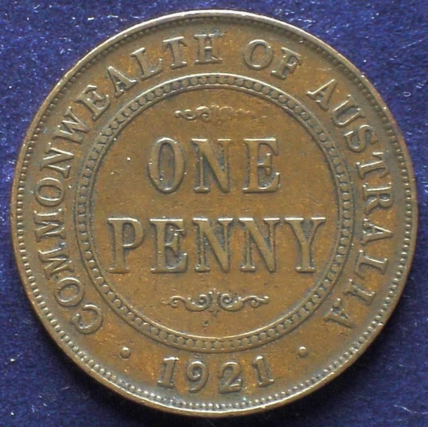 1921 Australia One Penny - King George V - A