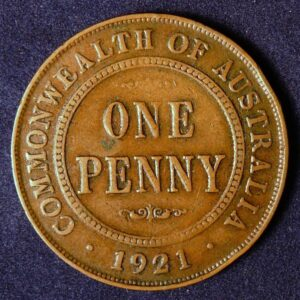 1921 Australia One Penny - King George V - B