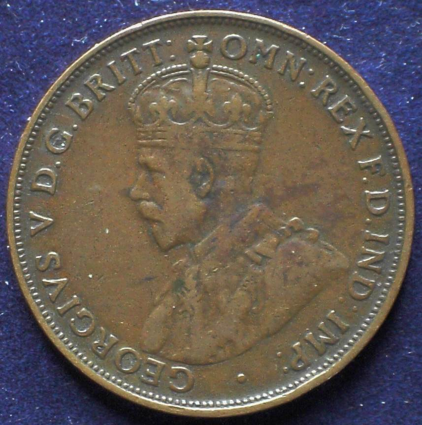 1921 Australia One Penny - King George V - D