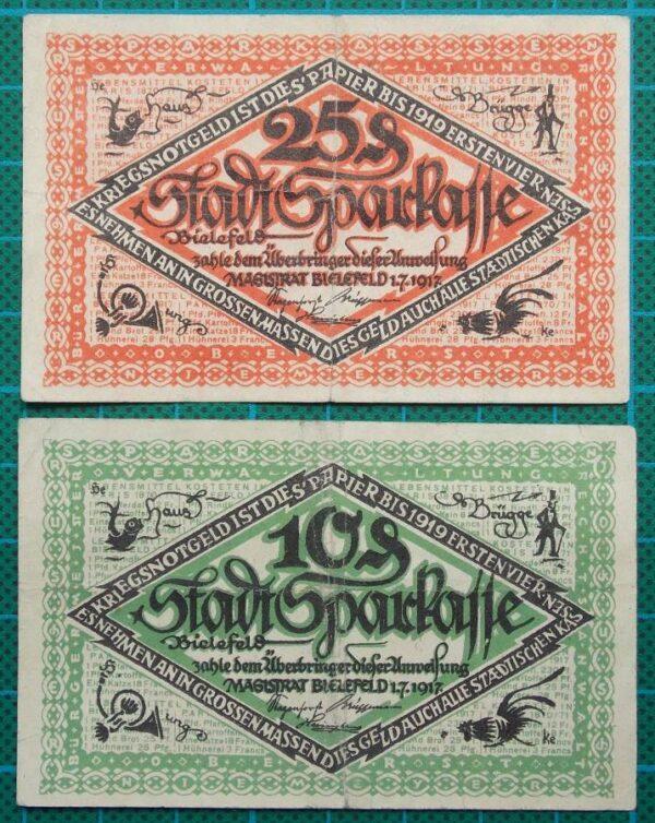 1921 BIELEFELD NOTGELD TWIN SET