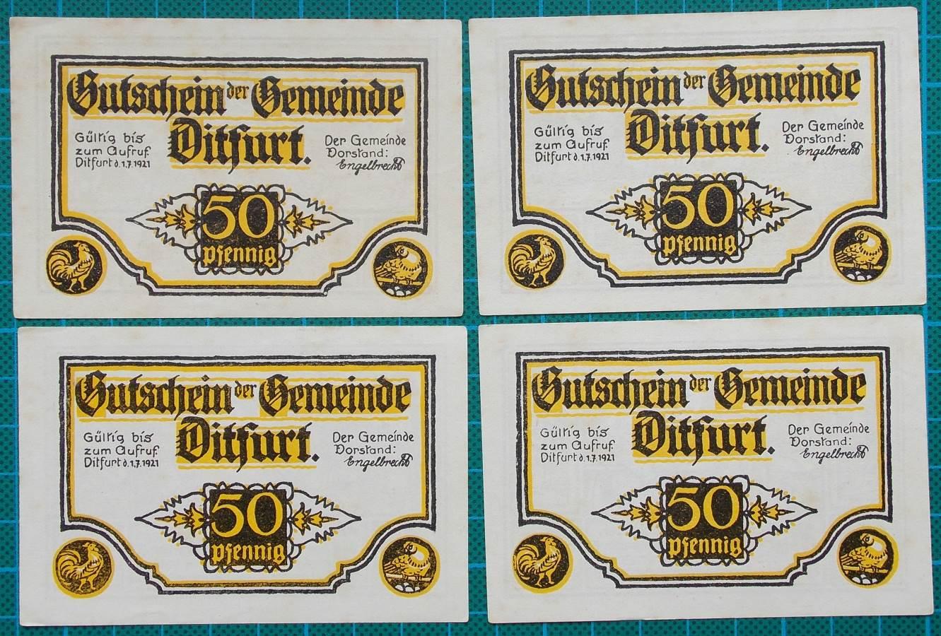 1921 DITFURT GUTSCHEIN NOTGELD NOTE SET