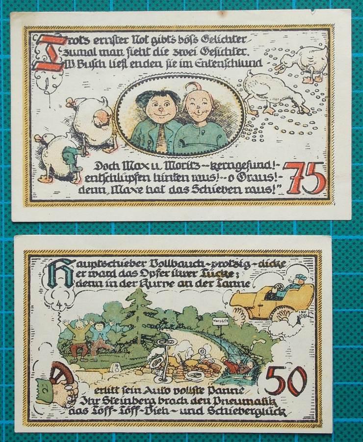 1921 GATERSLEBEN WARTE NOTGELD MAX AND MORITZ