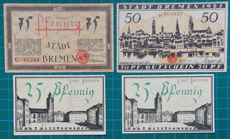 1921 STADT BREMEN NOTGELD SET