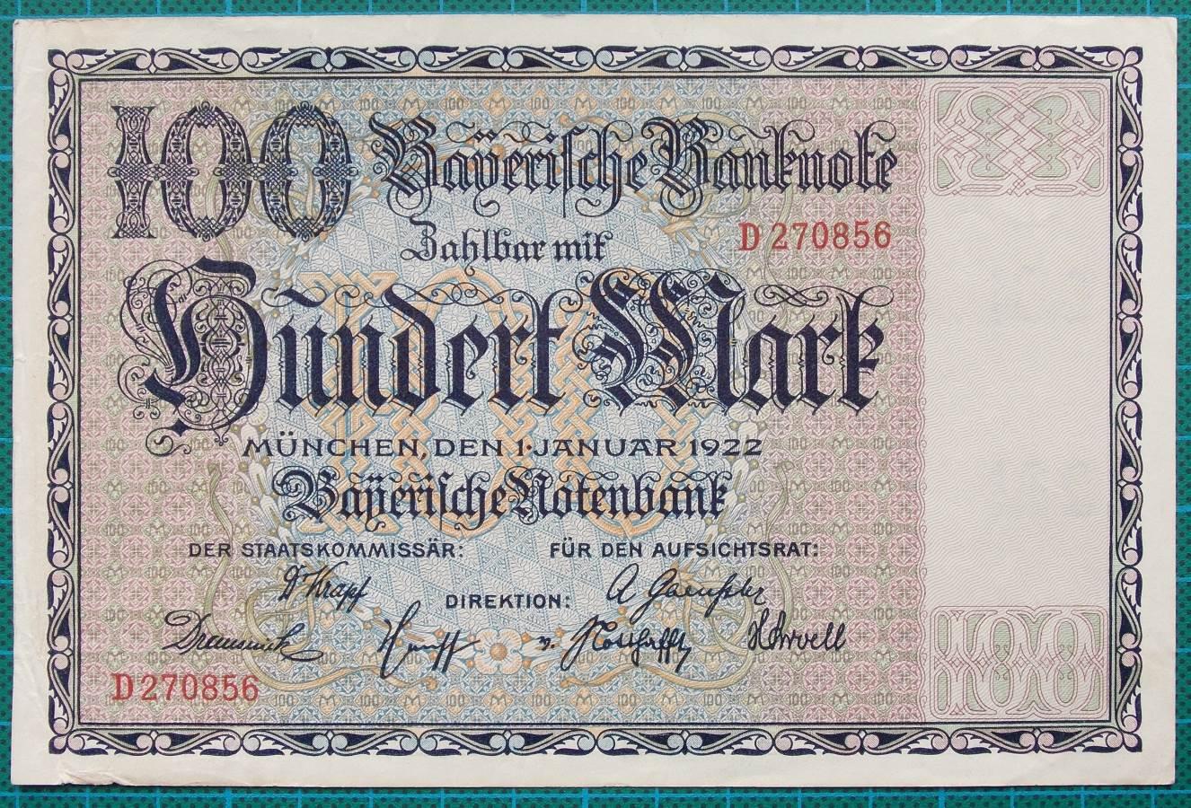 1922 BAYERISCHE NOTENBANK 100 MARK