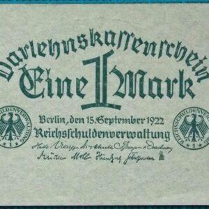 1922 DARLEHNSKASSENSCHEIN EIN MARK