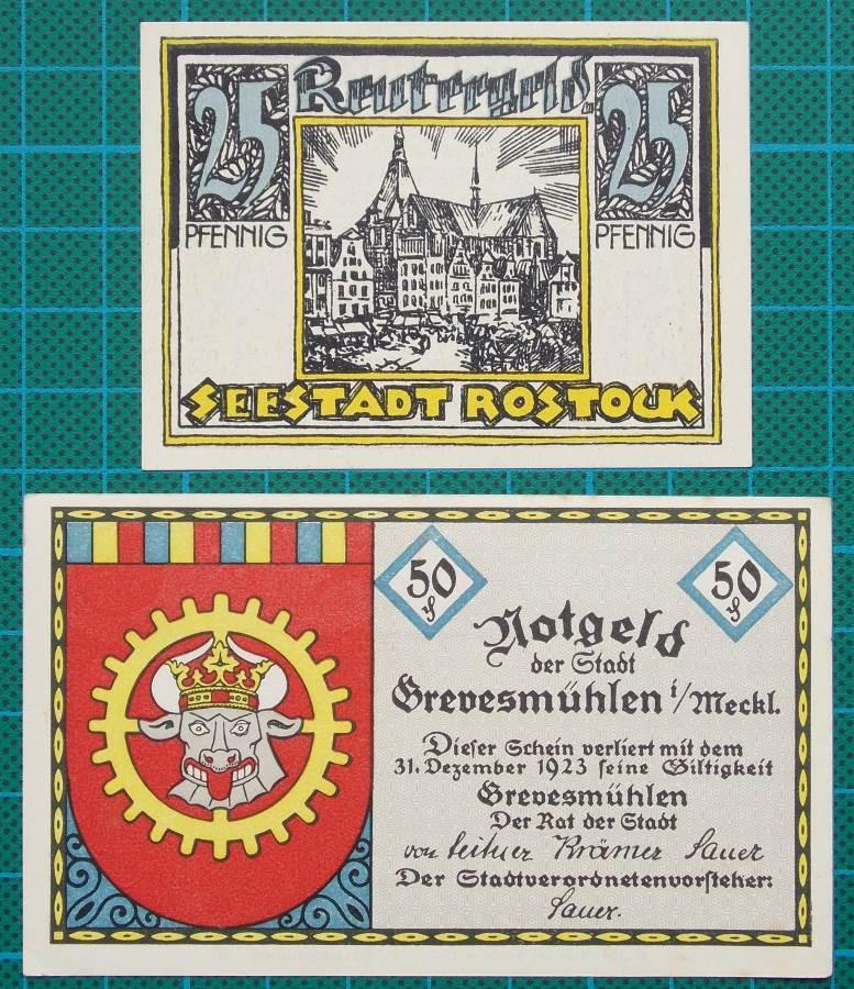 1922 ROSTOCK GREVESMUELLEN NOTGELD SET