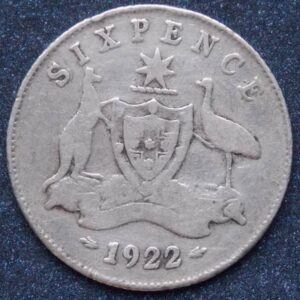 1922 Australia Sixpence - King George V