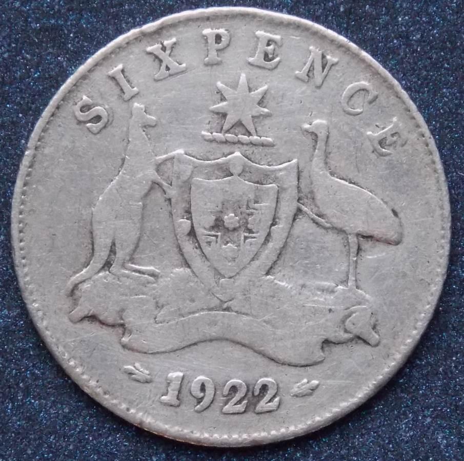 1922 Australia Sixpence - King George V