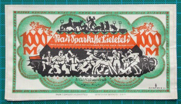 1922 BIELEFELD SILK NOTGELD 1000 MARK GREEN